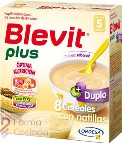 BLEVIT PLUS DUPLO 8 CEREALES CON NATILLAS - (600 G )