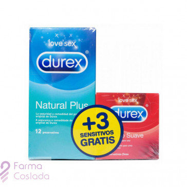 DUREX NATURAL PLUS + DUREX SENSITIVO CONFORT - PRESERVATIVOS (PACK 12 + 3 PRESERV )